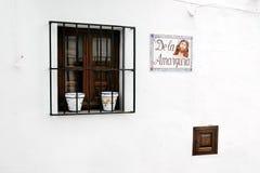 Zakazujący okno z dwa kwiatu garnkiem Zdjęcie Stock