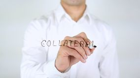 Zakelijk onderpand, Mens die op Met de hand geschreven Glas schrijven, stock foto's