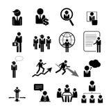 Zaken, beheer en menselijke middelpictogrammen geplaatst eps 10 Stock Afbeelding