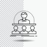 Zaken, bus, cursus, instructeur, het Pictogram van de mentorlijn op Transparante Achtergrond Zwarte pictogram vectorillustratie royalty-vrije illustratie
