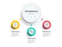 Zaken 3 de grafiekinfographics van het stapproces met stapcirkels Ci Royalty-vrije Stock Foto