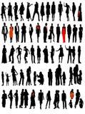 Zaken, de silhouetten van de manierverscheidenheid Stock Fotografie