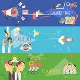 Zaken die vlakke geplaatste banners op de markt brengen vector illustratie