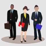 Zaken en bureauconcept Bedrijfsvrouw en twee bedrijfsman Vector illustratie stock illustratie