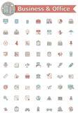 Zaken en de reeks van het bureaupictogram Stock Afbeeldingen
