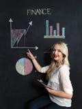 Zaken en finaces concept - het glimlachen het bedrijfsvrouw voorstellen Stock Afbeelding