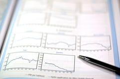 Zaken en financieel rapport stock afbeeldingen