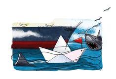Zaken en haaien Een document boot met een rode vlag op de golven naast een fragment van een groot overzees die schip door haaien  royalty-vrije illustratie