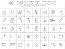 Zaken en het pictogramreeks van het bureauoverzicht Royalty-vrije Stock Afbeeldingen