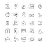 Zaken, geld en het pictogramreeks van de financiën vector dunne lijn royalty-vrije illustratie