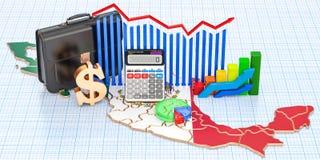 Zaken, handel en financiën in het concept van Mexico, het 3D teruggeven royalty-vrije illustratie