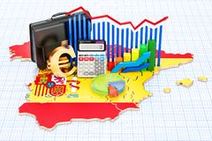 Zaken, handel en financiën in het concept van Spanje, het 3D teruggeven Stock Foto's