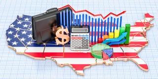 Zaken, handel en financiën in het 3D concept van Verenigde Staten, Royalty-vrije Stock Foto's