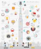 Zaken Infographic met grafieken en andere elementen wordt geplaatst dat stock illustratie