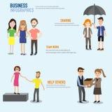 Zaken infographic met groepswerk, het delen en hulp anderen vecto Stock Foto's