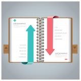 Zaken Infographic met Ring Notebook Arrow Bookmark Diagram Stock Foto