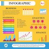 Zaken Infographics Diagrammen, lijsten, vlak-stijlgrafiek Stock Foto