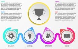 Zaken Infographics Een modern, abstract diagram in een vlakke stijl van document realistische cirkels en lijnen Stappen aan succe Royalty-vrije Stock Fotografie