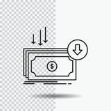 Zaken, kosten, besnoeiing, uitgave, financiën, het Pictogram van de geldlijn op Transparante Achtergrond Zwarte pictogram vectori vector illustratie