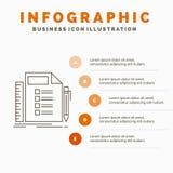 Zaken, lijst, plan, planning, het Malplaatje van taakinfographics voor Website en Presentatie r vector illustratie