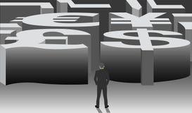 Zaken met een labyrint met internationale munt Stock Fotografie