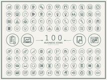 zaken 100 om geplaatste pictogrammen Stock Foto's