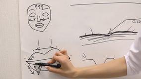 Zaken, onderwijs, mensen, planning en strategie concept - close-up van de tekening van de artsen` s hand van lippenteller stock video