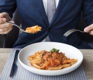 Zaken Person Dining Indoors Concept royalty-vrije stock afbeelding
