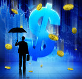 Zaken Person Facing Financial Crisis royalty-vrije stock afbeelding