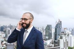 Zaken Person Talking Phone Concept stock foto