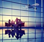 Zaken Team Discussion Meeting Airplane Take van Concept Royalty-vrije Stock Foto's