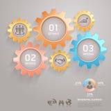 Zaken Team Gears Infographics Number. Stock Afbeelding