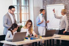 Zaken Team Meeting Working Presentation Concept stock foto's