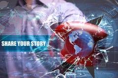 Zaken, Technologie, Internet en netwerkbeveiliging deel uw Stock Afbeeldingen