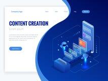 Zaken, technologie, Internet en voorzien van een netwerkconcept Inhoudsstrategie, inhoud marketing, het schrijven, distributievec stock illustratie
