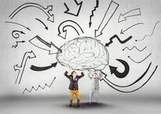 Zaken twee bemannen het dragen van de hersenen met grafische pijlen stock illustratie