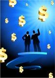 Zaken van winstenachtergrond met twee mensen Royalty-vrije Stock Afbeeldingen