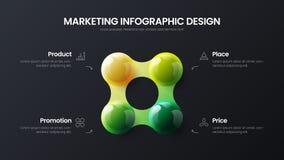 Zaken 4 vector 3D kleurrijke de ballenillustratie van de optie infographic presentatie Collectief marketing het rapportontwerp va vector illustratie