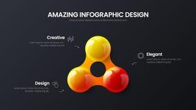 Zaken 3 vector 3D kleurrijke de ballenillustratie van de optie infographic presentatie Collectief marketing het rapportontwerp va royalty-vrije illustratie