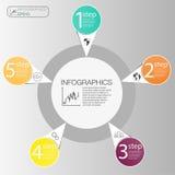Zakenkrings infographic concept Vectorcirkelelementen voor infographic Malplaatje infographic 5 plaatst, stappen Stock Foto