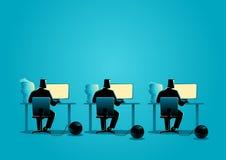 Zakenlieden die die aan computers werken in ijzerbal worden geketend stock illustratie