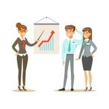 Zakenlieden die de verkoopgroei in het bureau bespreken De kleurrijke vectorillustratie van het beeldverhaalkarakter vector illustratie