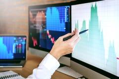 Zakenlieden die en anale voorraden online Investering uitwisselen die bespreken stock fotografie