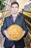 Zakenlieden die geld houden Stock Foto