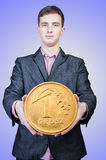 Zakenlieden die geld houden Stock Foto's