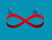 Zakenlieden die op oneindigheidssymbool lopen Concepten bedrijfsbeeld i Stock Foto's