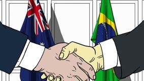 Zakenlieden of politici die handen schudden tegen vlaggen van Australië en Brazilië Vergadering of samenwerking verwant beeldverh stock illustratie