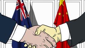 Zakenlieden of politici die handen schudden tegen vlaggen van Australië en China Vergadering of samenwerking verwant beeldverhaal vector illustratie