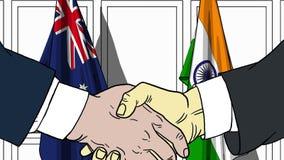 Zakenlieden of politici die handen schudden tegen vlaggen van Australië en India Vergadering of samenwerking verwant beeldverhaal stock illustratie