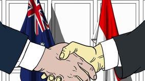 Zakenlieden of politici die handen schudden tegen vlaggen van Australië en Indonesië Verwante vergadering of samenwerking stock illustratie